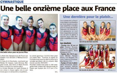 Var Matin 8/06/2018 : Une belle onzième place aux France