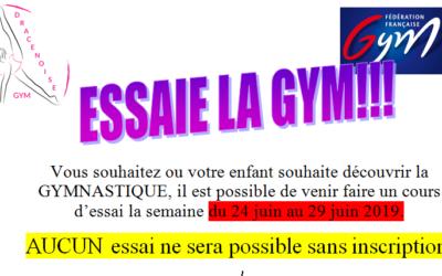 Du 24 au 29 Juin 2019 venez tester la gymnastique artistique sur les séances actuelles.